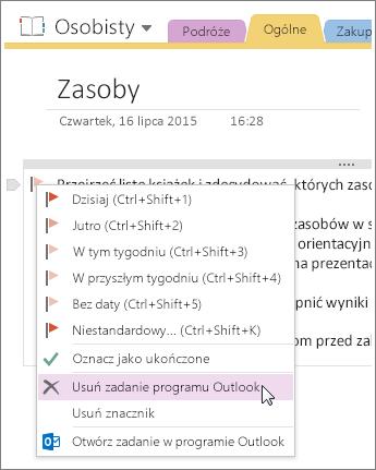 Zrzut ekranu: usuwanie zadania programu Outlook w programie OneNote 2016.