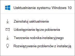 Karta uaktualnienia systemu Windows 10, w Centrum administracyjnym.