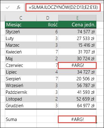 Formuła w komórce E15 pokazuje błąd #ARG!, ponieważ w kolumnie E występuje błąd #ARG!.