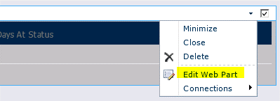 Polecenie Edytuj składnik Web Part w menu składnika Web Part