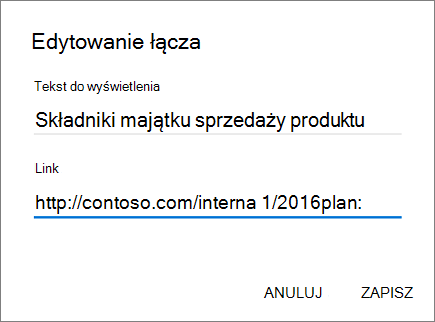 Obraz menu Dodaj link.