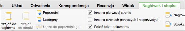 Gdy klikniesz dwukrotnie obszar nagłówka lub stopki, program Word wyświetla kartę Nagłówek i stopka.
