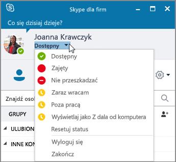 Zrzut ekranu przedstawiający okno programu Skype dla firm z otwartym menu Statusu.