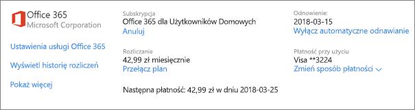 Strona Usługi i subskrypcje ze szczegółami subskrypcji usługi Office 365 dla Użytkowników Domowych.