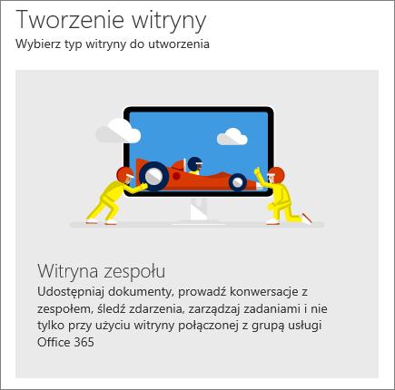 Tworzenie witryny w programie SharePoint Office 365