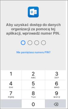 Wprowadź kod PIN na urządzeniu z systemem iOS, aby uzyskać dostęp do aplikacji pakietu Office.