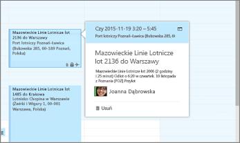Zrzut ekranu przedstawiający program Outlook z informacjami o locie.