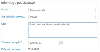 Opis projektu w usłudze Project Online.