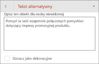 Okno dialogowe tekst alternatywny dla kształtu w programie PowerPoint dla systemu Android.