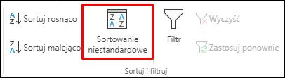 Opcja niestandardowego sortowania w programie Excel na karcie Dane