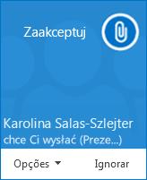 Zrzut ekranu: okno podręczne z alertem o transferze pliku