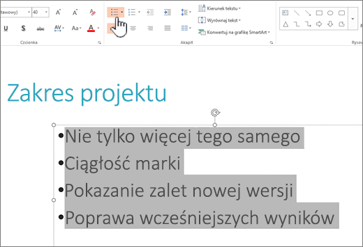 Zaznaczony tekst i wyróżniony przycisk listy punktowanej