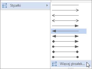 Kliknięcie przycisku Więcej strzałek w celu dostosowania linii lub strzałki