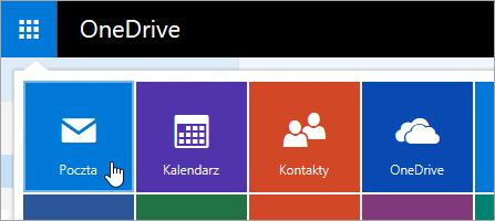 Zrzut ekranu przedstawiający Kafelek Poczta w obszarze Uruchamianie aplikacji.