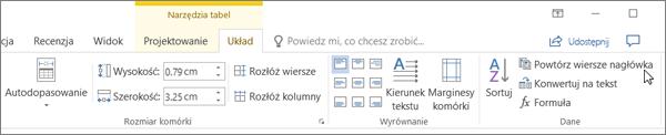 Zrzut ekranu przedstawia kursor wskazujący na opcję POWT narzędzia tabel na karcie Układ w grupie dane.