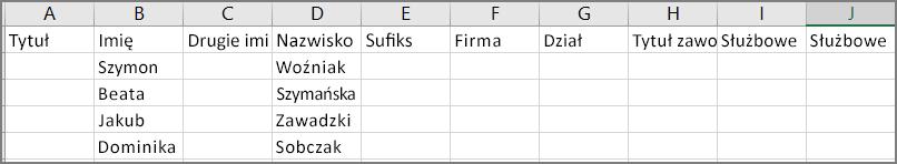 Zawartość przykładowego pliku csv po wyeksportowaniu kontaktów z programu Outlook