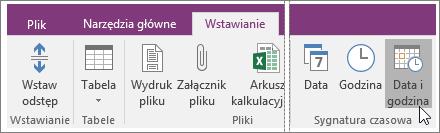 Zrzut ekranu przedstawiający przycisk Data i godzina w programie OneNote 2016.