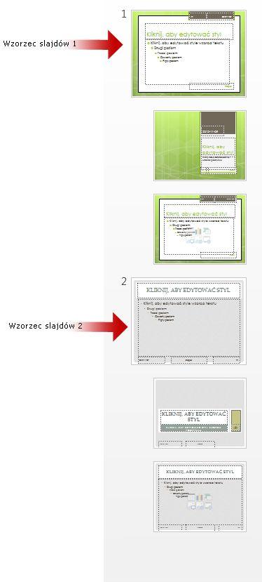Wiele wzorców slajdów