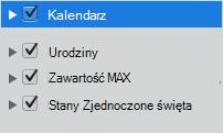Lista kategorii kalendarza