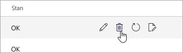 Zrzut ekranu przedstawiający przycisk usuń na stronie urządzenia przenośne.