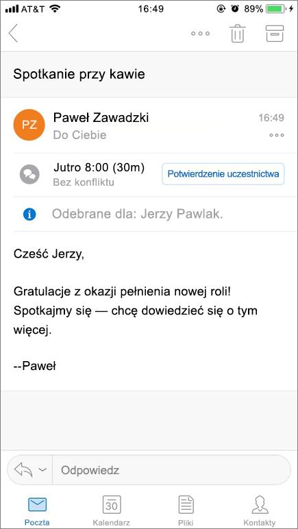 Zrzut ekranu przedstawiający ekran urządzenia przenośnego z elementem poczty.