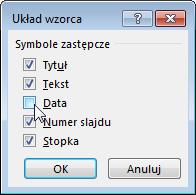 Pokazywanie lub ukrywanie symboli zastępczych we wzorcu slajdów