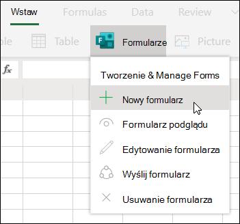 Opcja Wstaw nowy formularz w programie Excel dla sieci Web