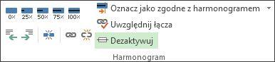 Przycisk Dezaktywuj w grupie Harmonogram na karcie Zadanie.