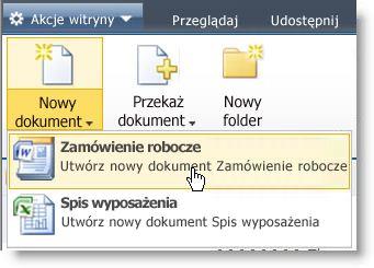 Typy zawartości wyświetlane w menu Nowe listy lub biblioteki.