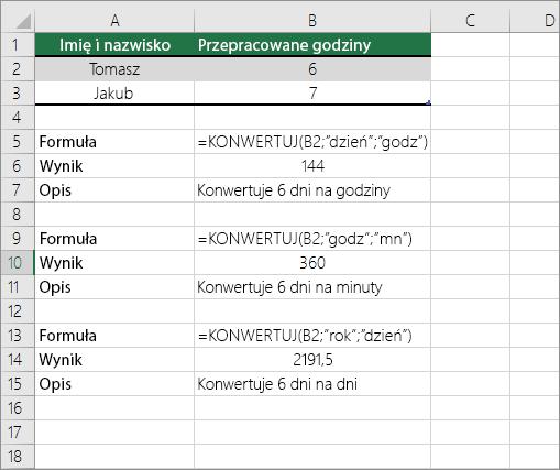 Przykład: konwertowanie jednostek czasu