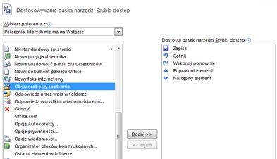 Okno dialogowe Dostosowywanie paska narzędzi Szybki dostęp z dodatkowymi poleceniami