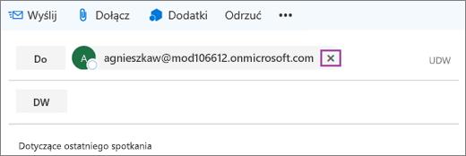 Zrzut ekranu przedstawiający wiersz wiadomości e-mail Do z opcją usunięcia adresu e-mail adresata.