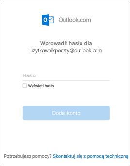 Wprowadź hasło dla konta usługi Outlook.com.