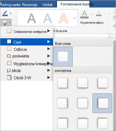 Opcje w menu Efekty kształtów