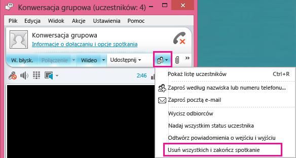 Zrzut ekranu: przycisk Zakończ spotkanie