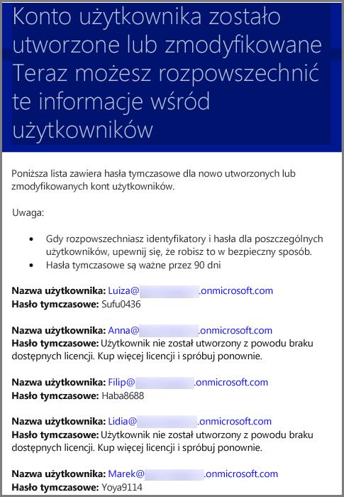 Przykładowa wiadomość e-mail z informacjami o poświadczeniach użytkownika