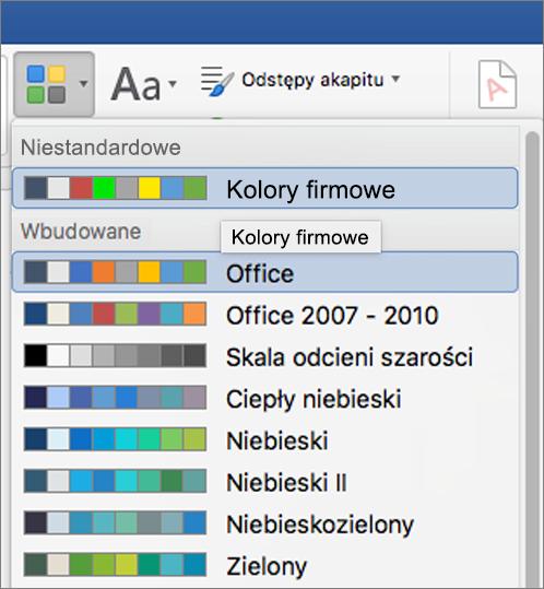 Kolory motywu niestandardowego w programie Word