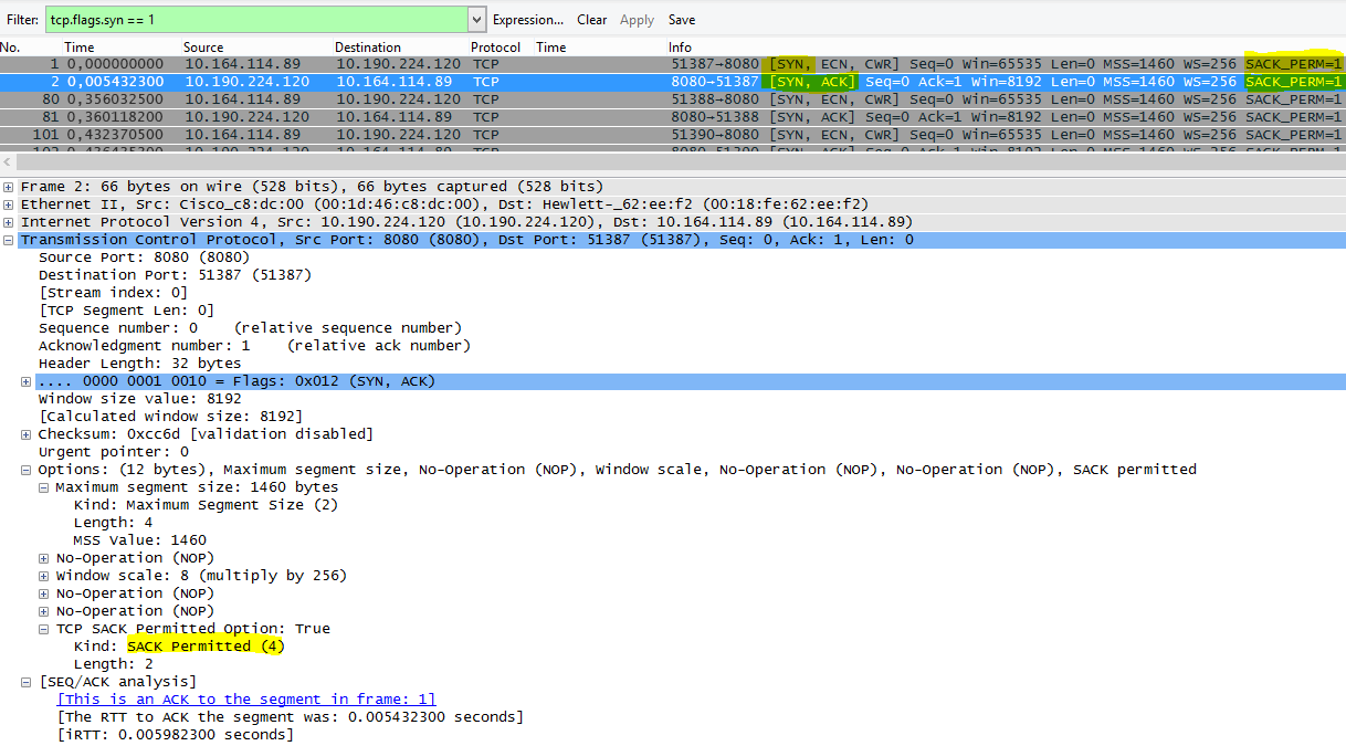 Pakiet SACK w programie Wireshark z filtrem tcp.flags.syn == 1.