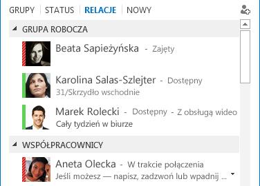 Zrzut ekranu: sortowanie kontaktów według relacji