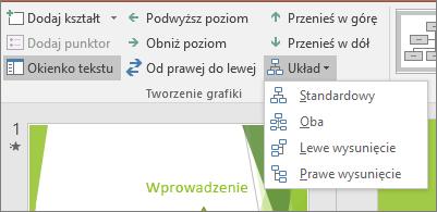 Opcja Układ w obszarze Narzędzia grafiki SmartArt