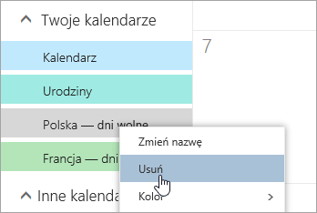 Zrzut ekranu przedstawiający opcje kalendarza Usuń