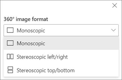 Lista rozwijana formatu obrazu 360