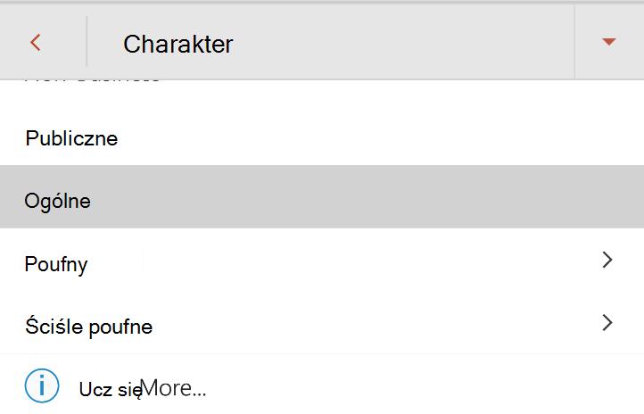 Menu charakter w systemie Android z etykietami charakter wyświetlane
