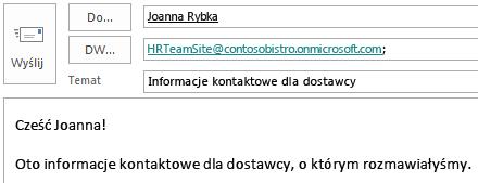 Wiadomość e-mail zawierająca skrzynkę pocztową witryny w polu DW.