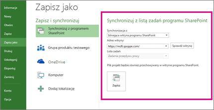 Obraz obszaru Synchronizacja z programem SharePoint w widoku Backstage