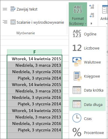 przycisk na wstążce umożliwiający zmianę formatu na datę długą