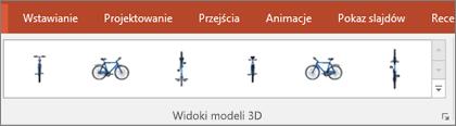 Galeria widoków modeli 3D zawiera kilka użytecznych ustawień wstępnych, które umożliwiają umieszczenie obrazu 3D