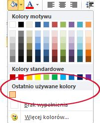 Opcja Ostatnio używane kolory