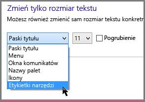 Ustawienia formatu etykietek narzędzi w systemie Windows 8