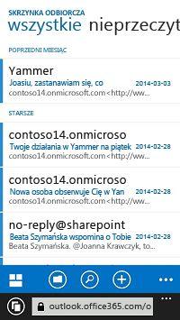 Wiadomości e-mail wyświetlane w aplikacji OWA na urządzeniu przenośnym